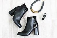 Ботиночки кожаные на каблуке демисезонные черная кожа