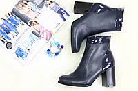 Ботиночки кожаные на каблуке демисезонные синяя кожа
