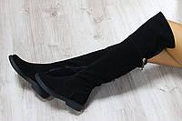 Замшевые зимние сапоги-ботфорты