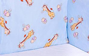Постель Qvatro Защита на стеночки в кроватке Голубой (жирафик)