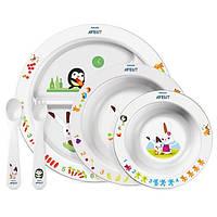 Столовый набор посуды с развивающими рисунками ТМ Авент / Avent с 6мес