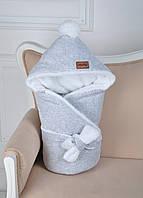Велюровый зимний конверт для малыша на выписку (серый) MagBaby