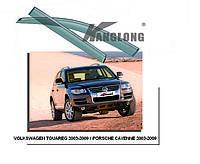 Дефлекторы окон с хром молдингом Porsche Cayenne / Volkswagen Touareg 2003-2009