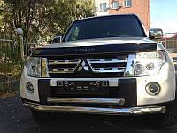 Защита переднего бампера (двойной ус) Mitsubishi Pajero Wagon 2006-2015 d 60/42