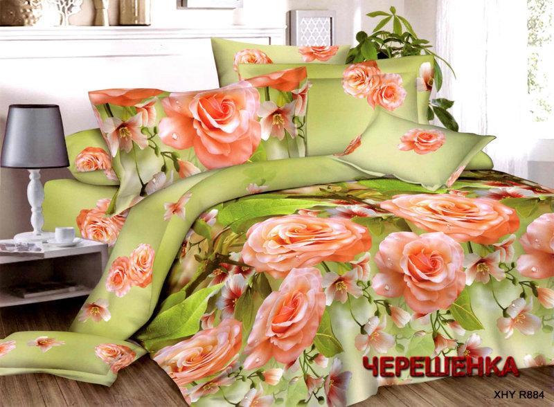 Полуторный набор постельного белья из Ранфорса №325 Черешенка™