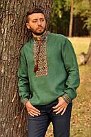 Оригинальная мужская вышиванка зеленого цвета с универсальным рукавом М07/1-236, фото 1