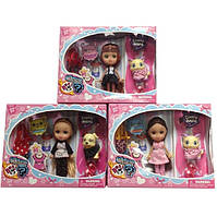 Кукла маленькая 65012 3 вида,с питомцем,сумкой,аксесс