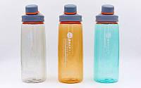 Бутылка для воды спортивная  700мл (TRITAN прозрач, PP, цвета в ассортименте)