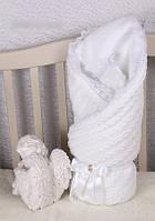 Зимний конверт, вязанный белый плед на выписку в роддом оптом