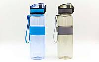 Бутылка для воды спортивная  500мл (TRITAN прозрач, PP, цвета в ассортименте)