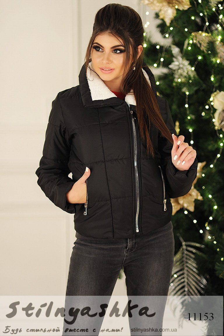 женская короткая черная куртка