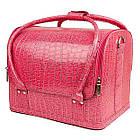 Саквояж,кейс для визажа (розовый лак крокодил) , чемодан мастера маникюра и педикюра