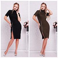 Женское стильное платье с разрезом