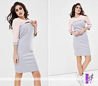 Двухцветное силуэтное платье Цвета: серый ,ментол ,беж