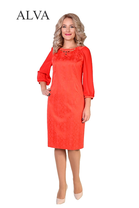 Элегантное  женское платье из жаккарда с шифоновыми рукавами.Разные цвета.