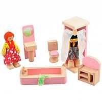 Развивающая игрушка Мир деревянных игрушек Мебель для кукол Ванная комната (Д274)
