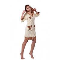 Халат женский с капюшоном на молнии Arya  (13120)