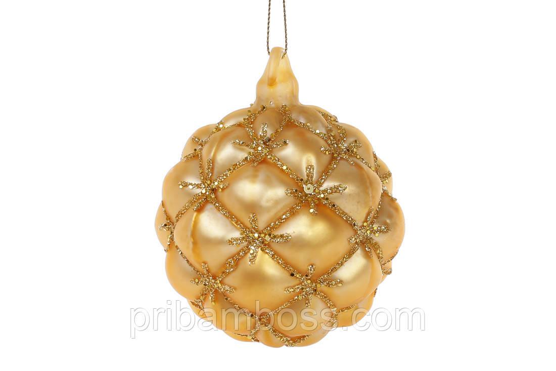 Елочный шар 8см, цвет - золото мат 6 шт.