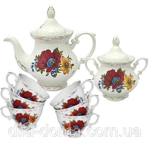 Набор чайный 8 предметов Полевой мак