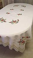 """Скатертина ручної роботи з льону """"Квіткова"""" для овального та прямокутного столу в асортименті"""