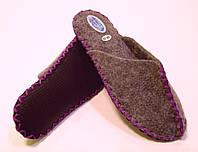 Комнатные войлочные тапочки женские для дома с фиолетовым шнурком, фото 1
