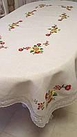"""Скатертина ручної роботи з льону """"Квіткова"""" для овального столу  270*160"""