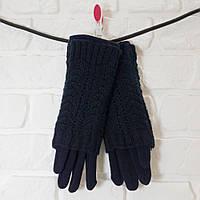 Перчатки из шерсти темно-синий