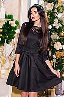 Красивое платье с кружевной отделкой черное, бордо, изумруд мпр  5048/1