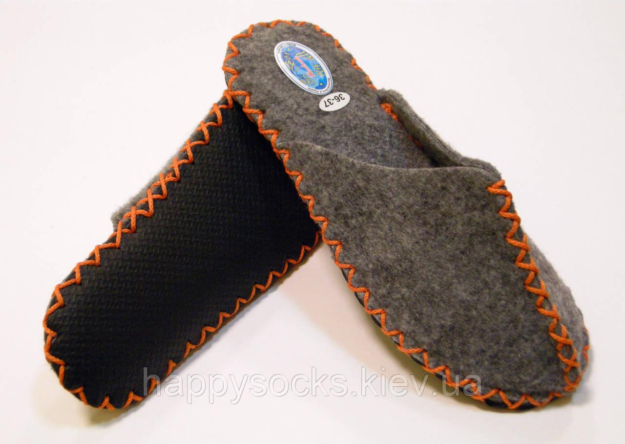 Тапочки ручной работы женские оранжевый шнурок