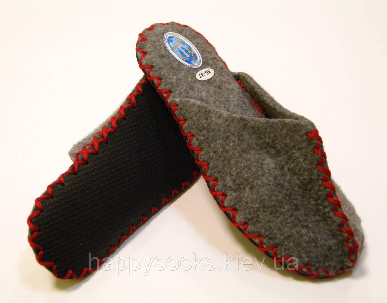 Ексклюзивні жіночі домашні капці з повсті з червоним шнурком