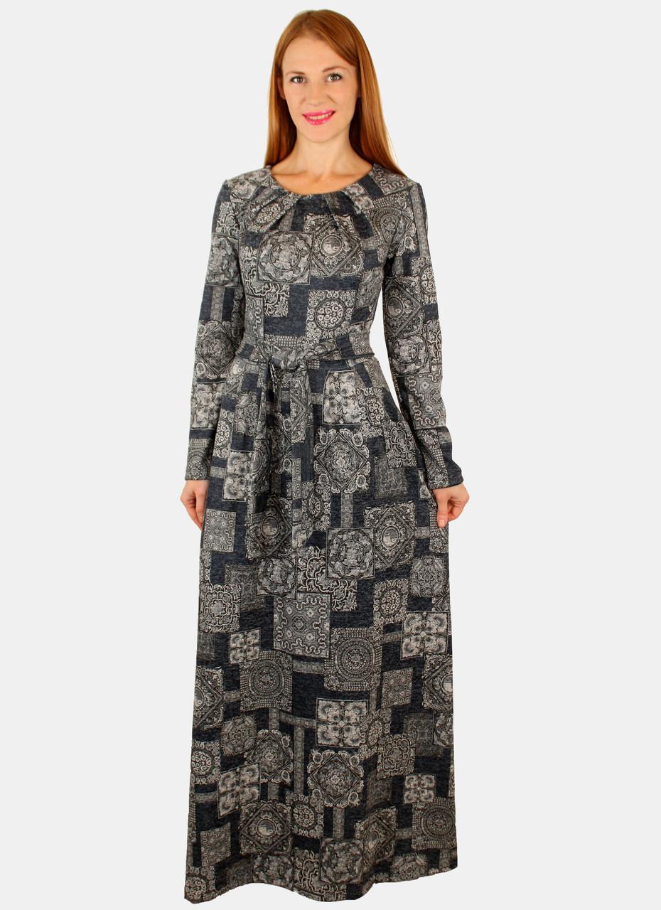 9e8327490b6 Теплое длинное платье с принтом 44-50 р ( разные цвета ) 44
