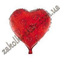 Фольгированные воздушные шары, форма:сердце, золотистые розы, 18 дюймов/45 см, 1 штука