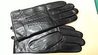 Мужские перчатки с утеплителем черные натуральная кожа низкая цена