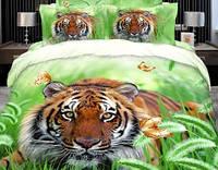 Комплект постельного белья  Тигр. Двуспальный. Сатин 3Д