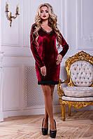 Женское нарядное, короткое платье, стрейч-велюр, марсала, размер 44