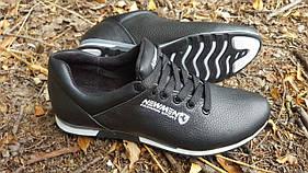 Мужские кожаные кроссовки New Man black