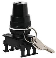 Переключатель поворотн. 2-х поз. с ключом HК85C3, с фикс. 0-1, 30°, (черн.)