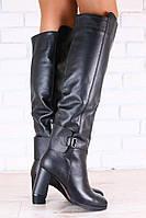Зимние женские ботфорты-европейка, кожаные, на высоком, устойчивом каблуке, 36-40 р-р