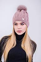 Женская шапка с помпоном на флисе