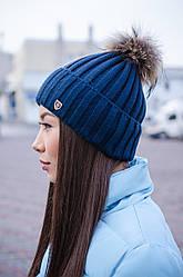Красивая женская шапка с помпоном утепленная флисом