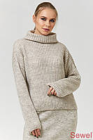 Теплый зимний вязаный свитер с люрексом