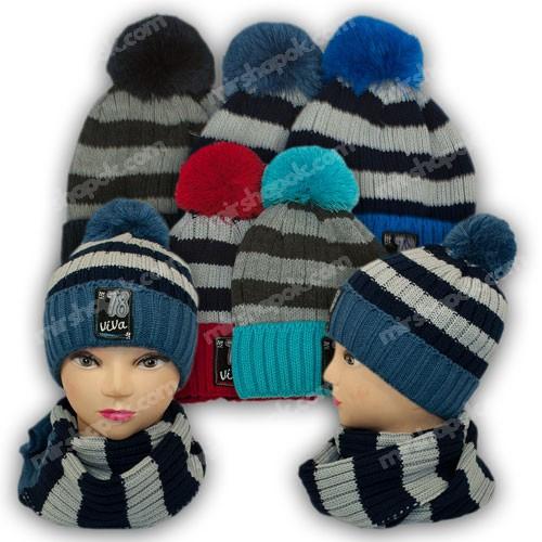 Комплект шапка и шарф для мальчика, р. 50-52, подкладка флис, 7023