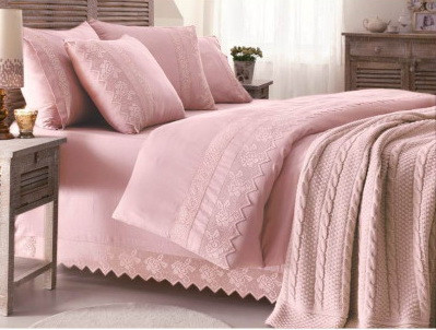 Gelin home вязаный плед ERGUVAN евро  тёмно-розовый