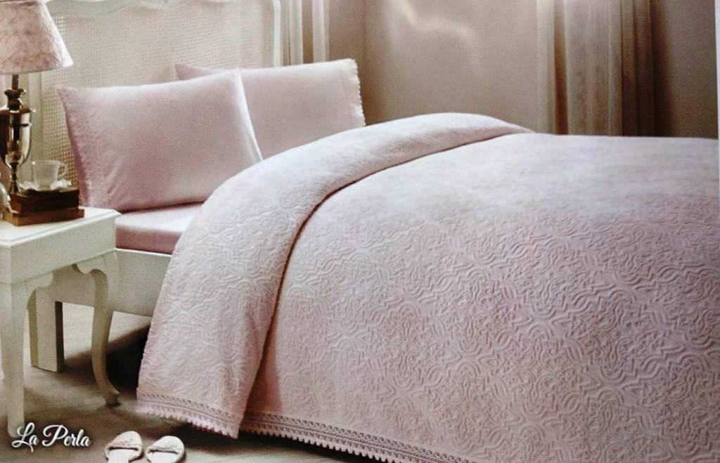 Tivolyo home покрывало пике LAPERLA PEMBE евро розовый