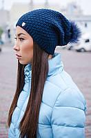 Вязаная женская шапка с помпоном утепленная флисом