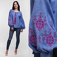 Вышитая блуза для женщин с пышным рукавом Орнамент розовый