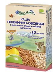 Молочная каша Fleur Alpine цельнозерновая  Пшенично-овсяная с кусочками груши и яблока 200г