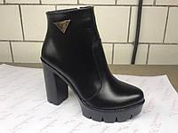 Кожаные ботинки на высоком каблуке украинского производителя. Оптом и в розницу