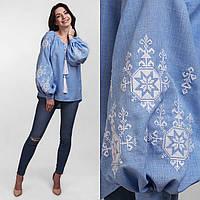 Вышитая блуза для женщин с пышным рукавом Орнамент белый m