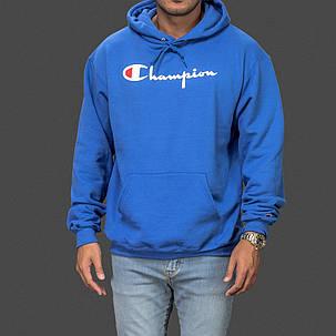 Champion толстовка • Мужская худи ярко синяя, фото 2